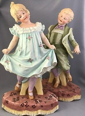 Large Pair Heubach German Bisque Figurines Piano Baby