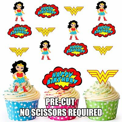 PRE-CUT Superhero Wonder Woman Happy Birthday Edible Cupcake Party Toppers