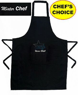 Extra Large Mister Chef BBQ Cooking Baking Kitchen Chefs Apron Adult Plain Black