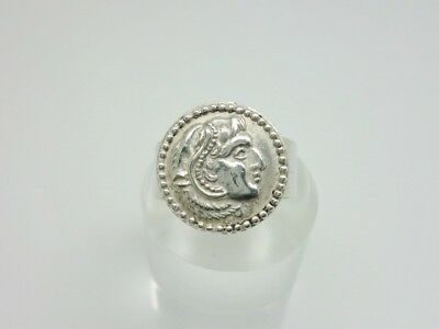 Vintage Studio 800 Solid Silver Greek/Roman/Crete Head Coin Band Ring Adjustable