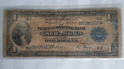 1914 New York Federal Reserve Banks $1 One Dollar Large Bill Note