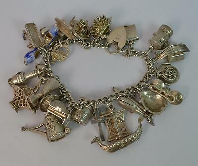 Large Heavy Solid Silver Ladies Charm Bracelet with Many Charms