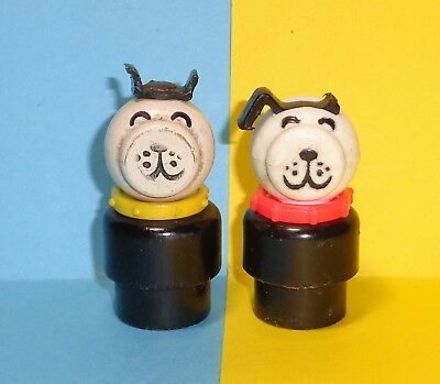 Vintage Fisher Price Little People 2 Dogs Wood Yellow Collar   damaged