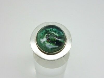 Superb Studio Crafted Sterling Silver Roman/Italian? Glass Statement Ring Size Q