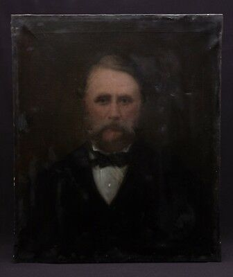 Large antique 19th century portrait painting of a bearded gentleman