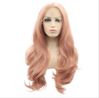 "24"" Fashion Pink Lace Front Wig Heat Resistant Synthetic Hair Long Wavy"