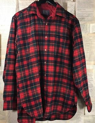 Vintage Mens PENDLETON 100% Virgin WOOL CHRISTIE TARTAN PLAID SHIRT Made USA M
