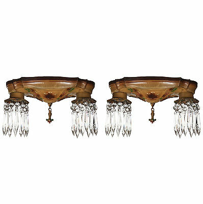 Neoclassical Flush Mount Fixtures with Prisms, 2 Available, NC2693