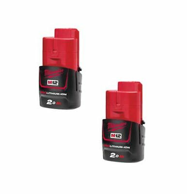 Milwaukee M12B2x2 Pack of 2 M12 12v 2.0Ah Red Lithium-Ion Battery