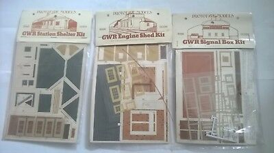 3 Prototype Models CARD kits GWR signal Box, GWR engine Shed and GWR Station She
