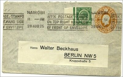 (5200) Kenya & Uganda 1925, KG V  postal stationery  envelope, 20c with add.