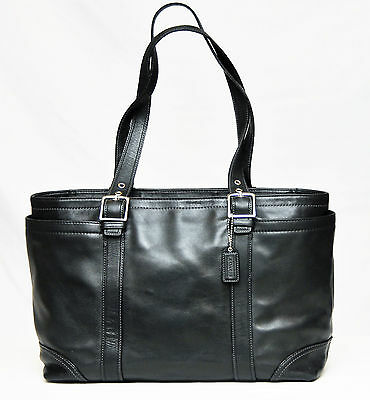 Coach~Xl Black Leather Diaper Bag Carryall Tote #10288