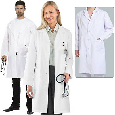 White Men Women Lab Coat Medical Doctor Long Sleeve Warehouse Hygiene Work Wear