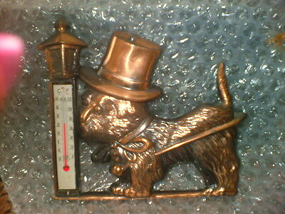 Vintage French Metal Wall Thermometer....attractive Dog And Lampstand Design.
