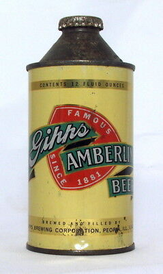 Gipps Amberlin 12 oz. Cone Top Beer Can-Peoria, IL.