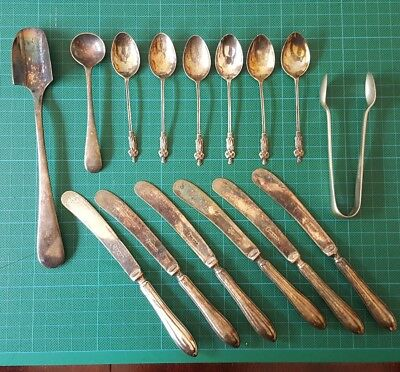 Collection of old silver & silver plate cutlery Sheffield & Birmingham.