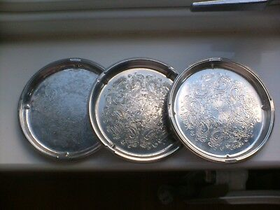 3 Vintage Falstaff Silver-plated Champagne/Wine Bottle Drip Tray/Coasters