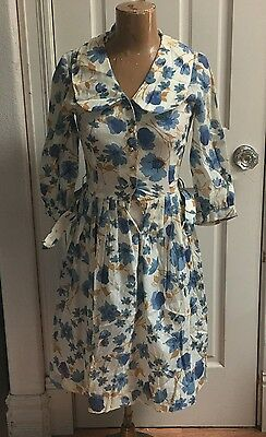 Vintage Blue Floral House Cocktail Party Dress 1950's Small
