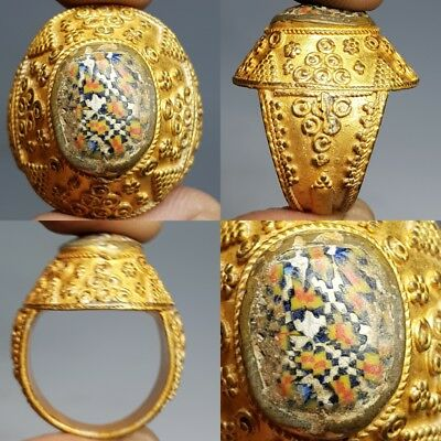 Rare old Mosaic Glass Wonderful Gold Gilding Lovely Ring #H