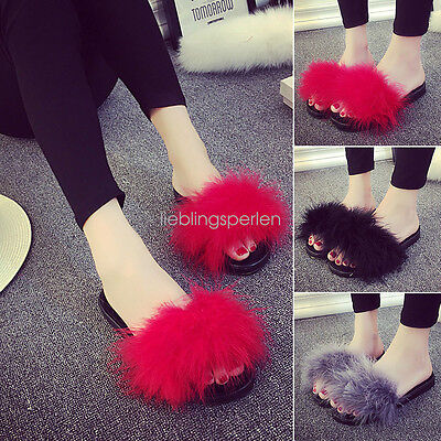 Women's Fur Fluffy Slippers Sandals Feather Slides Mules Home Open Toe Shoes GW