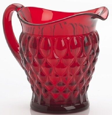Pitcher - Elizabeth Quilted - Mosser USA - Red Glass