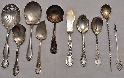 10 Antique & Victorian Sterling Silver Serving Pieces Spoons 348 grams Not Scrap