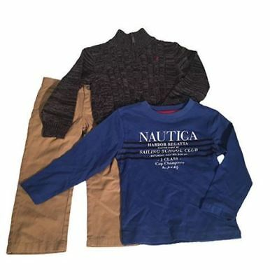 NEW Nautica Baby Boys 3 Piece Set with Shirt, Sweater and Pants SIZE 3t, 7