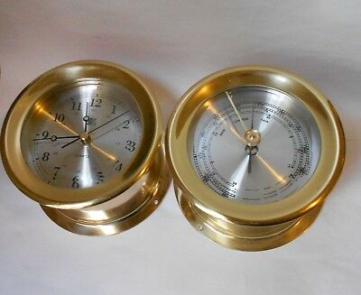 GUMPS BRASS NAUTICAL CLOCK & BAROMETER. FINE QUALITY, used, NO RESERVE!