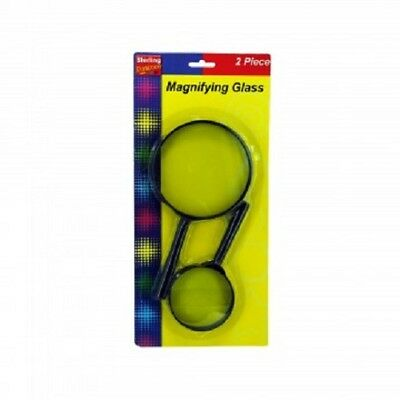 New Round Hand Held Magnifying Glass Set, 2 Pieces 3.75, 2.5 Inch Diameter