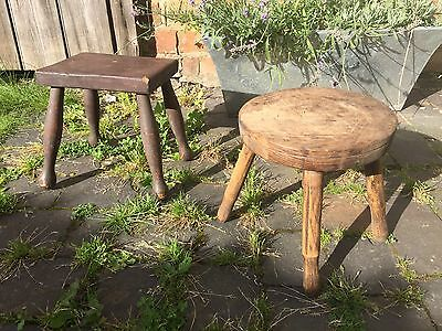 Antique Milking Stools - Vintage Rustic European Collectable