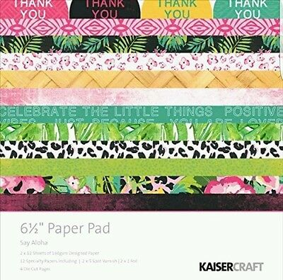 "Kaisercraft 'SAY ALOHA' 6.5"" Paper Pad Floral Leaf Tropical Flamingo Kaiser NEW"