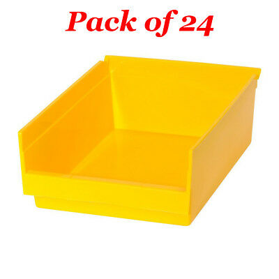 24x Heavy Duty Storage Plastic Bins Extra Thick Parts Shop Garage Utility Yellow