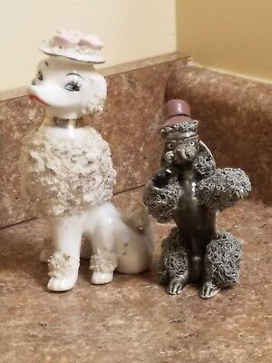 Pair of Vintage Spaghetti Porcelain Poodle Figurines