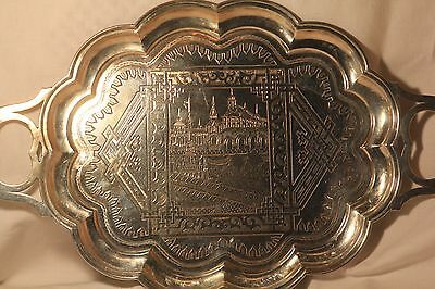 ANTIQUE RUSSIAN IMPERIAL SILVER SERVING TEA COFFEE TRAY 1881 MOSCOW 315gr