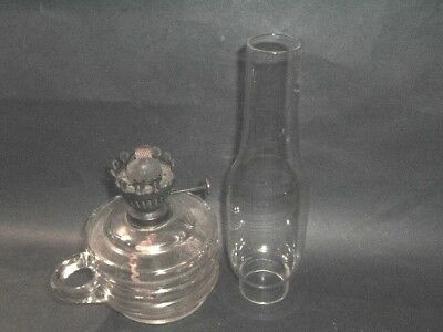 Vintage  Victorian Finger Oil lamp With Chimney