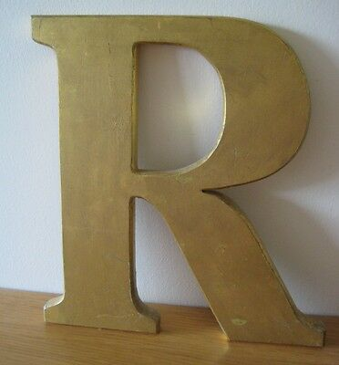 Vintage Reclaimed Shop/pub Sign - Letter 'r'. Gold Coloured. Good Condition.
