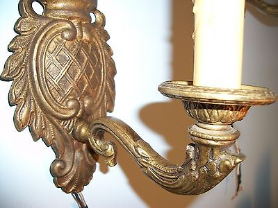 Antique Wall Sconces Cast Solid Brass Lot of 2 Single Arm Wired / Mini Shades