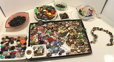 Fabulous Antique Vintage Button Lot From Collectors Inventory+ Glass Charmstring