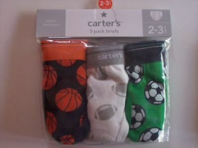 Carter's Underwear Underpants Boys 3 Pack Briefs Tag-Free Sz 2-3Toddler NIP