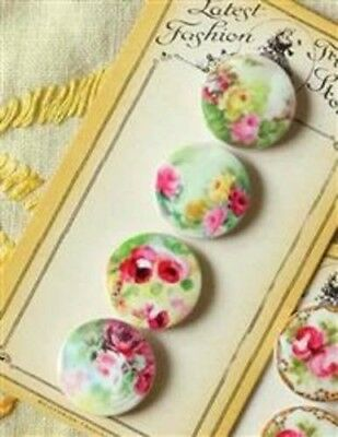 """Victorian Trading Co. """"Trimming Stones"""" Floral Buttons Garden Variety"""
