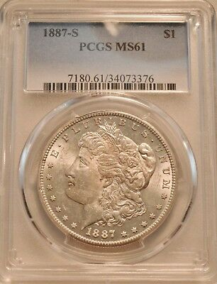 1887 S $1 PCGS MS 61 Morgan Silver Dollar, Scarce Date, Uncirculated Coin