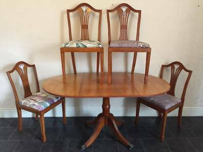 Wooden 'YEW' Extendable Table & Four Chairs Antique Dining Set 20th Century