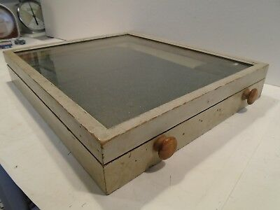 """Vintage Countertop Display Case Wood and Glass 19""""x16""""x3"""""""