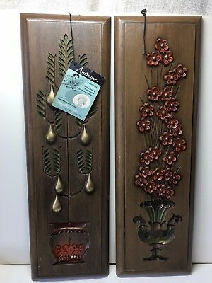 BURWOOD PRODUCTS USA Pear, Pot of Flowers ARABESQUE WALL PLAQUES Mid Century Set