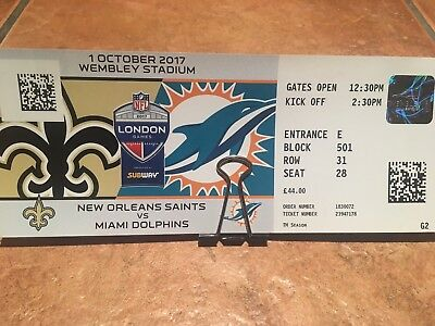 2 tickets nfl london new orleans saints vs miami dolphins eur 60 01 picclick de. Black Bedroom Furniture Sets. Home Design Ideas