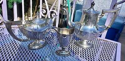 Antique Gorham Sterling Silver Coffee & Tea Set Plymouth Pattern 1673 Grams!