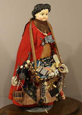 ANTIQUE  PAPIER-MACHE  PEDDLER  DOLL  with  DOME
