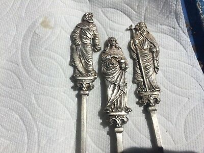 Lot Of 3 Germany Sterling Silver RELIGIOUS Spoons Mary & Apostle