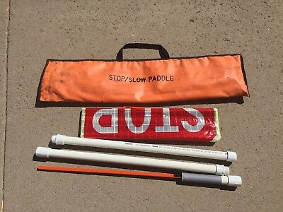 "SLOW STOP reflective roll up 24"" reflective traffic sign with 5' PVC pole"