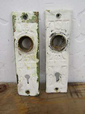 Antique Pair (2) Small Solid Brass Back Plates Escutcheons C.R.E.1888 528 VTG B
